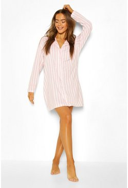 Candy Stripe Jersey Night Shirt, Pink