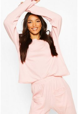 Blush Mix & Match Ribbed Long Sleeve PJ Top