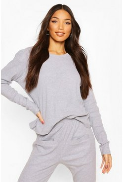 Grey Mix & Match Ribbed Long Sleeve PJ Top