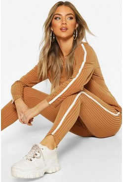 Camel Soft Rib Single Side Stripe Legging Lounge Set