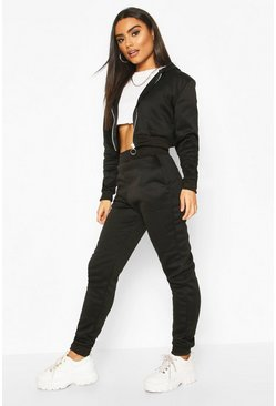 Black Zip Through Crop Hoody Lounge Set