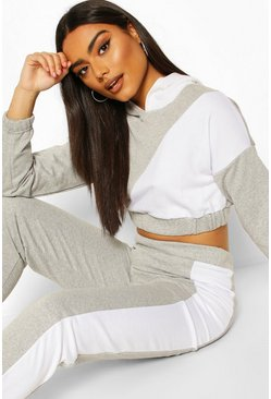 Grey Colour Block Crop Hoody Lounge Set