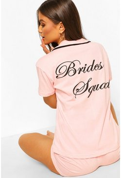 Ensemble short de pyjama en jersey Brides Squad, Blush