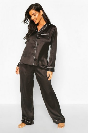 Black Mix & Match Satin PJ Trouser