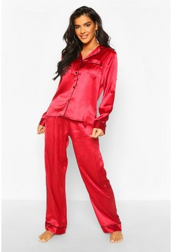 Red Mix & Match Satin PJ Trouser