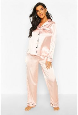 Rose gold Mixa & Matcha Pyjamasbyxor i satin