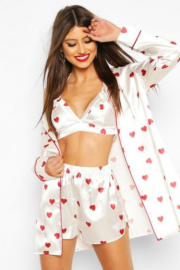 White Valentines Satin Heart Bralet Shirt & Short Set