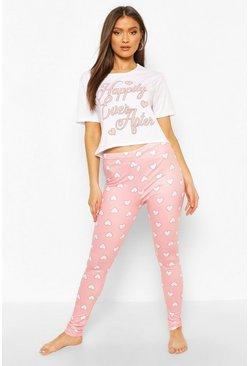 "Baby pink ""Happily Ever After"" T-shirt och leggings"