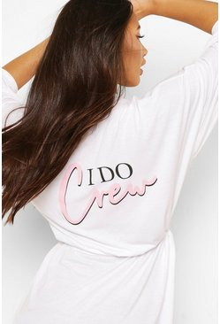 White I Do Crew Jersey Robe