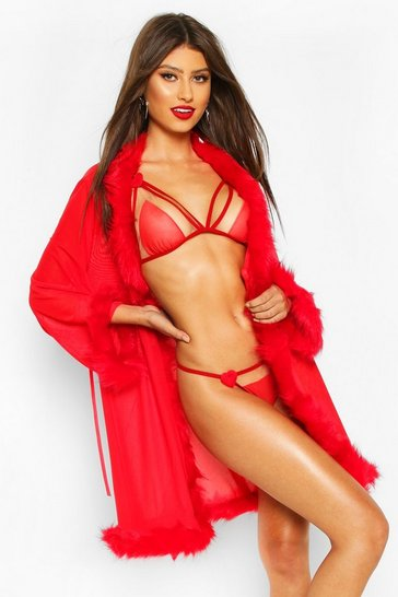 Red Fluffy Trim Robe