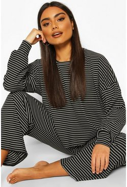 Black Stripe Soft Jersey Lounge Trouser Set