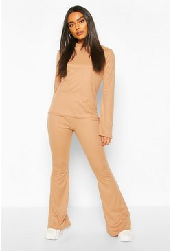 Camel Flare Sleeve Top & Flare Trouser Lounge Set