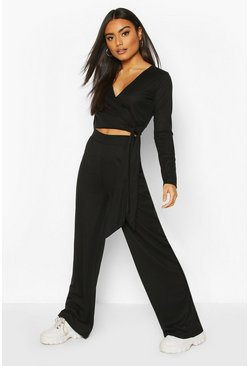 Black Wrap & Tie Top and Wide Leg Trouser Lounge Set