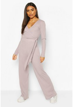 Grey Wrap & Tie Top and Wide Leg Trouser Lounge Set