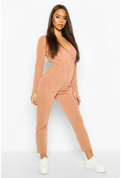 Camel Soft Wrap Front Lounge Jumpsuit