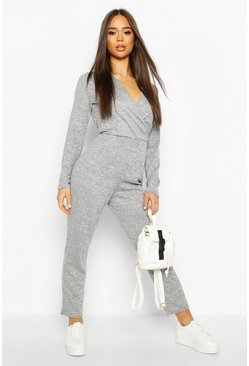 Grey Soft Wrap Front Lounge Jumpsuit