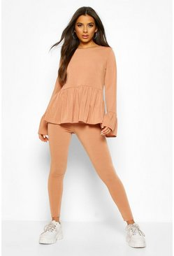 Camel Soft Peplum Lounge Set