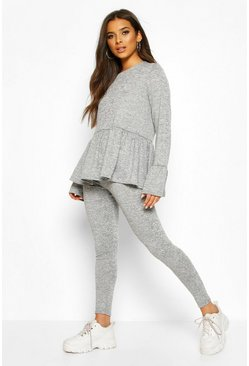 Grey marl Soft Peplum Lounge Set