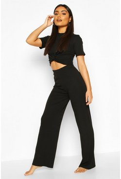 Black Soft Ribbed Knot Front Top & Trouser Lounge Set