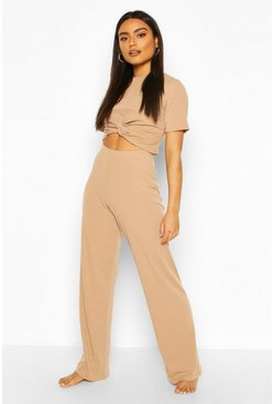 Camel Soft Ribbed Knot Front Top & Trouser Lounge Set
