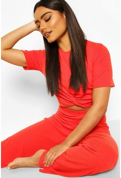 Red Soft Ribbed Knot Front Top & Trouser Lounge Set