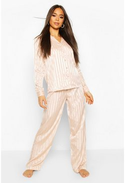 Blush Tonal Satin Button Through Pyjama Trouser Set