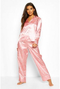 Blush Satin Star Print Trouser PJ Set
