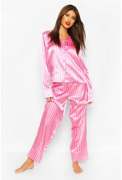 Set pigiama con pantaloni in raso a righe, Rosa