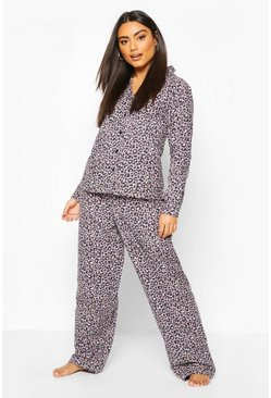 Grey Brushed Leopard Button Through Pyjama Set
