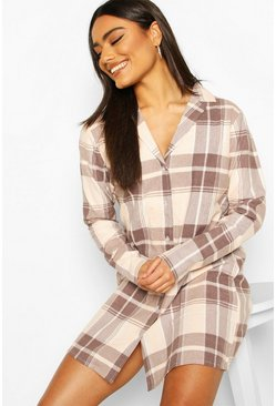 Rose Brushed Check Button Through Pyjama Nightie