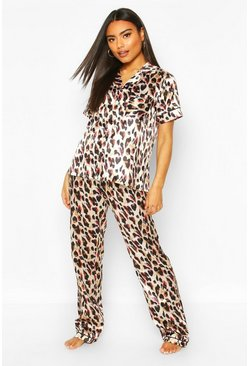 Brown Mix & Match Woven Leopard Print PJ Trouser