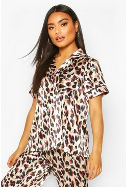 Brown Mix & Match Leopard Print PJ Short Sleeve Top