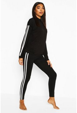 Black Roll Neck Long Sleeve Side Stripe Lounge Set