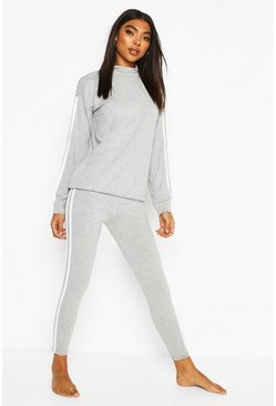 Grey Roll Neck Long Sleeve Side Stripe Lounge Set