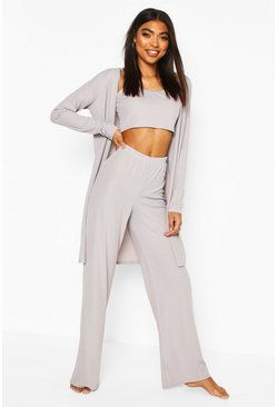 Grey marl Rib 3pc Trouser & Robe Lounge Set