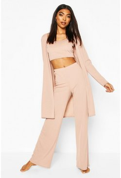 Stone Rib 3pc Trouser & Robe Lounge Set