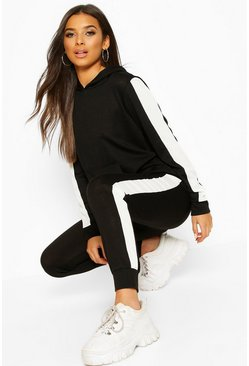 Black Stripe Insert Hoodie Lounge Set