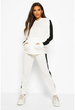Cream Stripe Insert Hoodie Lounge Set