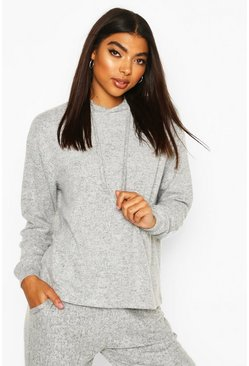 Grey marl Brushed Jersey Marl Lounge Hoodie