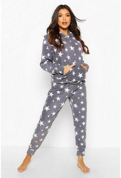 Grey Fleece Star Print Hoodie Lounge Set