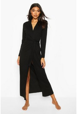 Black Jersey Longline Night Robe