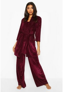 Berry Velvet Rib Robe