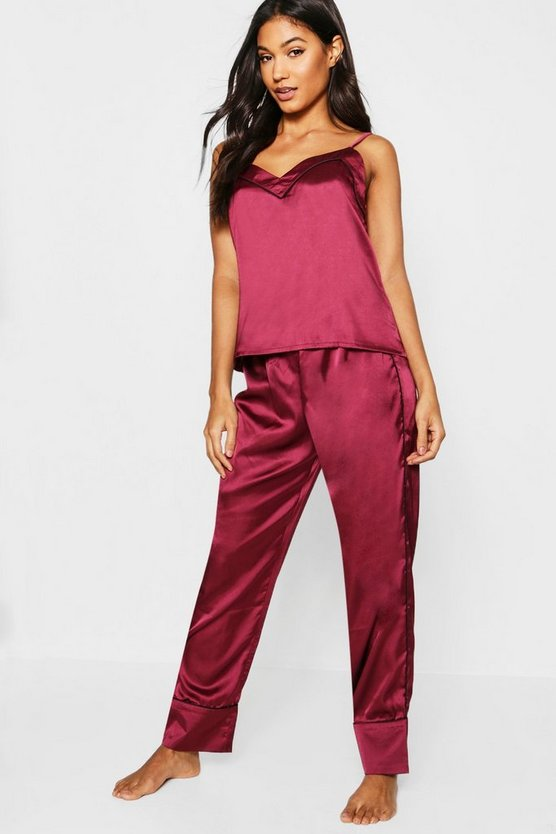 Womens Burgundy Piped Cami & Trouser PJ Set