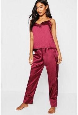 Womens Burgundy Piped Cami & Pants Pj Set