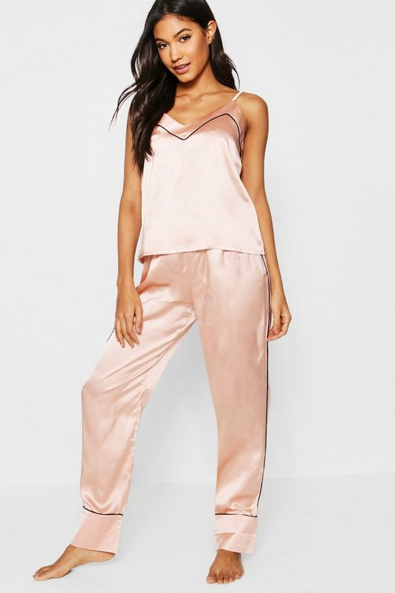 Womens Rose gold Piped Cami & Trouser PJ Set