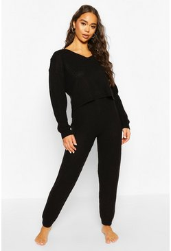 Black Cropped Knit Jumper and Jogger Lounge Sets