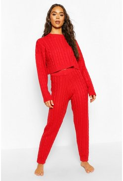 Red Cable Knit Cropped Jumper and Jogger Lounge Set