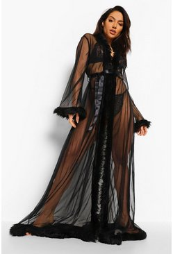 Premium Fluffy Trim Maxi Robe, Black