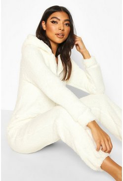Hooded Fleece Onesie, Cream