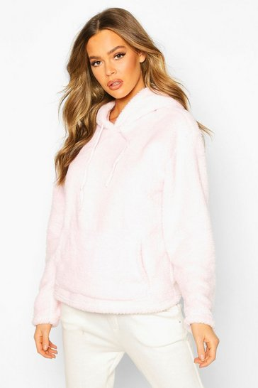 Womens Pink Teddy Oversized Hoody